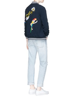 Mira MikatiSequin floral and parrot embroidery bomber jacket