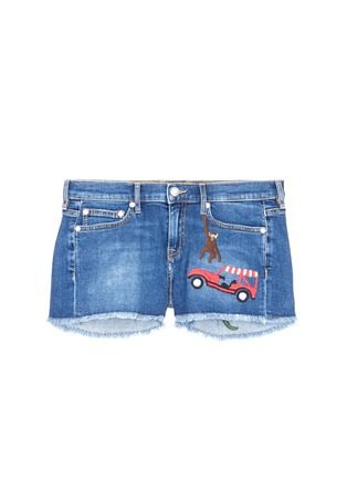Main View - Click To Enlarge - Mira Mikati - 'Rainforest' embroidered denim shorts