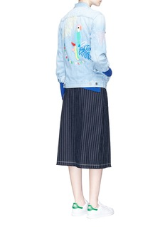 Mira Mikati Beaded parrot embroidery denim jacket