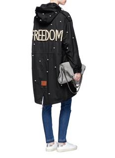 Tu Es Mon Trésor'Freedom' faux pearl embellished military parka