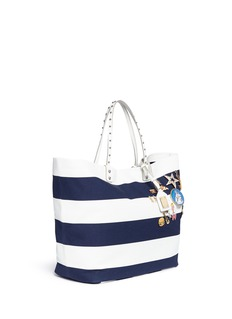 Dolce & Gabbana 'Beatrice' large pin embellished stripe canvas shopper tote