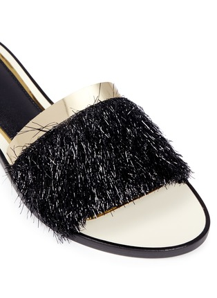 Detail View - Click To Enlarge - Lanvin - Mirror leather trim fringed slide sandals