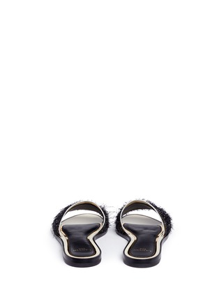 Back View - Click To Enlarge - Lanvin - Mirror leather trim fringed slide sandals