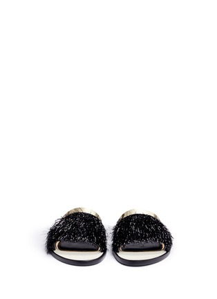Front View - Click To Enlarge - Lanvin - Mirror leather trim fringed slide sandals