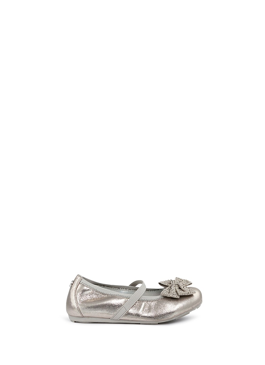 Fannie Jewel strass bow metallic toddler ballet flats by Stuart Weitzman