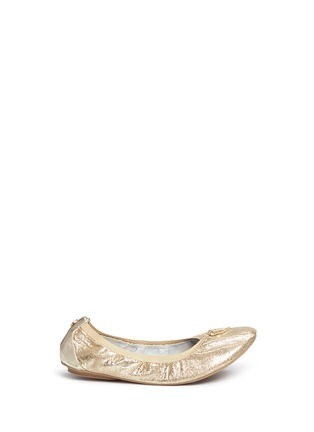 Main View - Click To Enlarge - Stuart Weitzman - 'Rose' logo glitter kids ballet flats