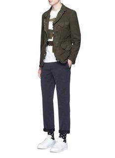 Comme Des Garçons HommeGarment dyed zip soft canvas blazer