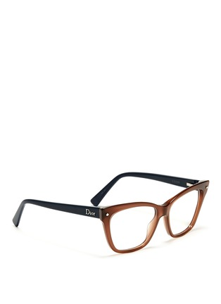 Figure View - Click To Enlarge - Dior - Colourblock cat eye optical glasses