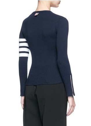 Back View - Click To Enlarge - Thom Browne - Stripe sleeve button cashmere sweater