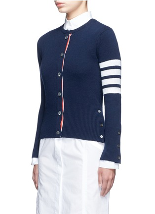 Front View - Click To Enlarge - Thom Browne - Stripe sleeve button cashmere cardigan