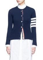 Stripe sleeve button cashmere cardigan