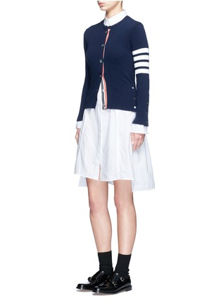 Figure View - Click To Enlarge - Thom Browne - Stripe sleeve button cashmere cardigan