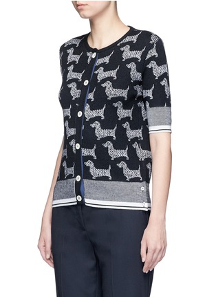 Front View - Click To Enlarge - Thom Browne - 'Hector' intarsia short sleeve cardigan