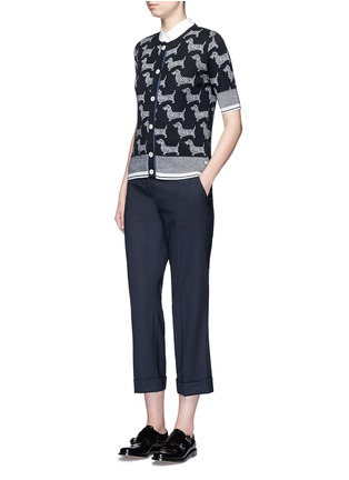 Figure View - Click To Enlarge - Thom Browne - 'Hector' intarsia short sleeve cardigan