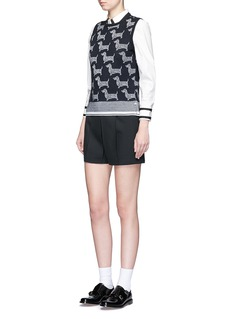 THOM BROWNE'Hector' intarsia wool-cashmere shell top