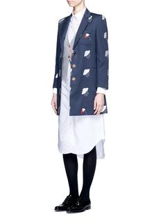 Thom BrowneCloud umbrella appliqué cotton twill mackintosh coat