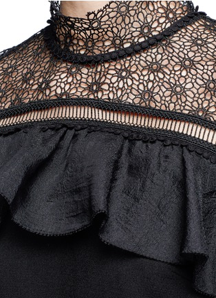 Detail View - Click To Enlarge - self-portrait - 'Military Cape' embroidery lace ruffle shoulder dress
