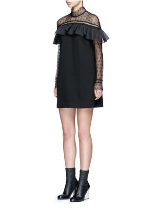 Front View - Click To Enlarge - self-portrait - 'Military Cape' embroidery lace ruffle shoulder dress