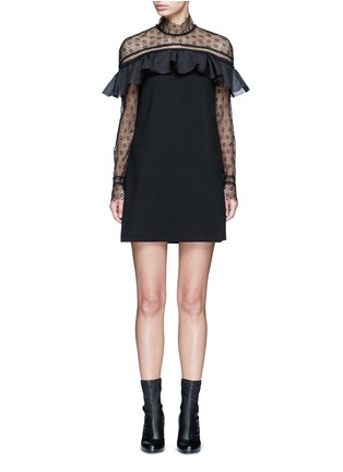 Main View - Click To Enlarge - self-portrait - 'Military Cape' embroidery lace ruffle shoulder dress