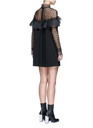 Figure View - Click To Enlarge - self-portrait - 'Military Cape' embroidery lace ruffle shoulder dress