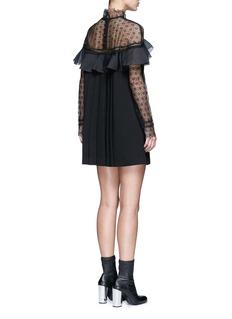 SELF-PORTRAIT'Military Cape' embroidery lace ruffle shoulder dress