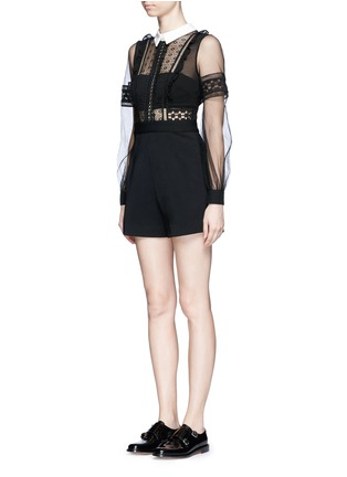 Front View - Click To Enlarge - self-portrait - Tulle balloon sleeve guipure lace crepe playsuit