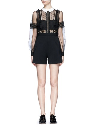 Main View - Click To Enlarge - self-portrait - Tulle balloon sleeve guipure lace crepe playsuit