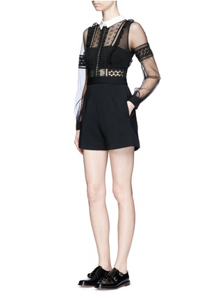 Figure View - Click To Enlarge - self-portrait - Tulle balloon sleeve guipure lace crepe playsuit