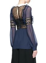 Balloon sleeve guipure lace chiffon blouse