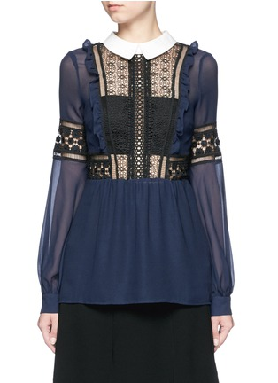 Main View - Click To Enlarge - self-portrait - Balloon sleeve guipure lace chiffon blouse