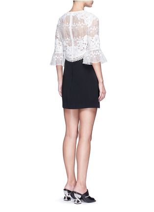 Back View - Click To Enlarge - self-portrait - Trumpet sleeve guipure lace crepe shift dress