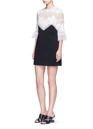Figure View - Click To Enlarge - self-portrait - Trumpet sleeve guipure lace crepe shift dress
