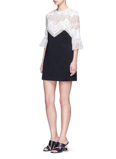 self-portraitTrumpet sleeve guipure lace crepe shift dress