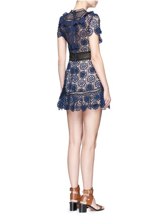 Back View - Click To Enlarge - self-portrait - 'Louisa' ruffle bib 3D floral guipure lace dress