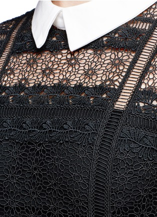 Detail View - Click To Enlarge - self-portrait - 'Fleur' guipure lace bodice crepe dress