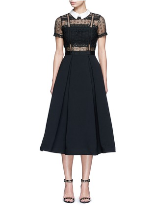 Main View - Click To Enlarge - self-portrait - 'Fleur' guipure lace bodice crepe dress