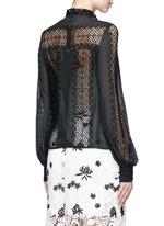 Balloon sleeve lace panel chiffon blouse
