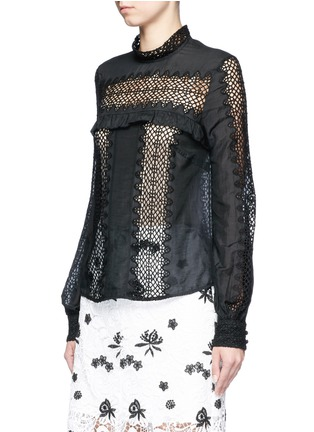 Front View - Click To Enlarge - self-portrait - Balloon sleeve lace panel chiffon blouse