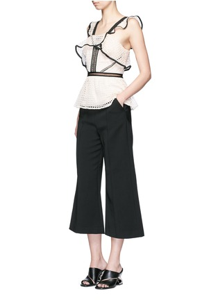 Figure View - Click To Enlarge - self-portrait - 'Natasha' pintuck seam culottes