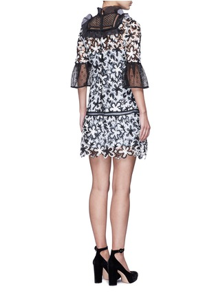 Back View - Click To Enlarge - self-portrait - Trumpet sleeve daisy guipure lace mini dress