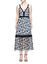 'Line' floral guipure lace V-neck dress
