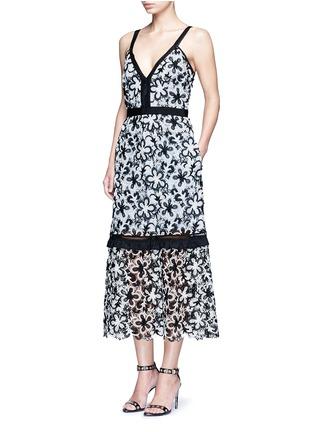 self-portrait-'Line' floral guipure lace V-neck dress