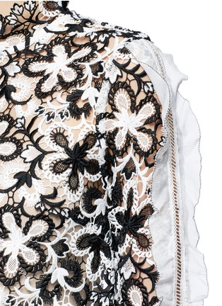 Detail View - Click To Enlarge - self-portrait - 'Line' organza sleeve trim floral guipure lace top