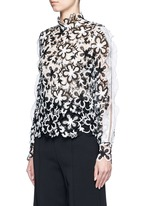 'Line' organza sleeve trim floral guipure lace top