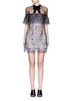 'Floral Vine' embroidered tulle lace ruffle dress