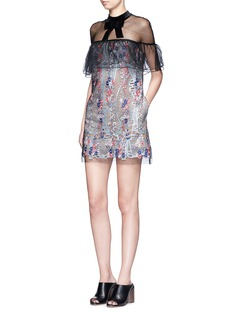 SELF-PORTRAIT'Floral Vine' embroidered tulle lace ruffle dress