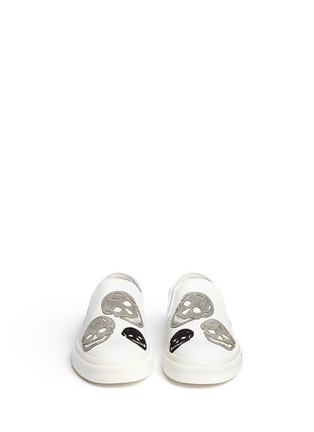 Front View - Click To Enlarge - Alexander McQueen - 'Larry' skull suede appliqué leather skate slip-ons