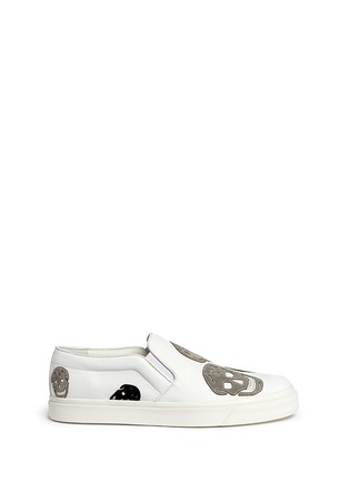 Main View - Click To Enlarge - Alexander McQueen - 'Larry' skull suede appliqué leather skate slip-ons