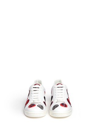 Front View - Click To Enlarge - Alexander McQueen - 'Larry' skull patch appliqué leather sneakers