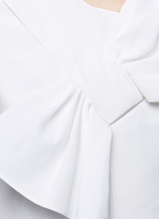 Detail View - Click To Enlarge - VICTORIA, VICTORIA BECKHAM - Twist bow one-shoulder microfaille dress